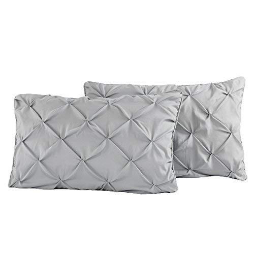Luxurious Era Pinch Pleated Standard Pillow Shams Standard 20x26 Set of 2 Silver Grey Pinch Pillow Shams Pinch Pleated Pintuck Decorative Cushion Cover 550 Thread Count 100% Natural Cotton