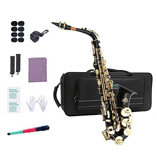 EastRock Students Beginners Alto Saxophone Black Laquer Gold Key E