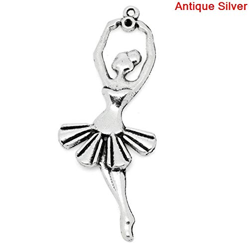 (PEPPERLONELY 10pc Antiqued Silver Alloy Ballet Dancing Girl Charms Pendants 61x24mm (2-3/8