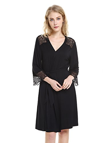 ZAN.STYLE Women's Sleepwear Soft Jersey Knit Robe Bathrobe Lightweight Kimono Robe with Lace Trim Black Small (Kimono Jersey)