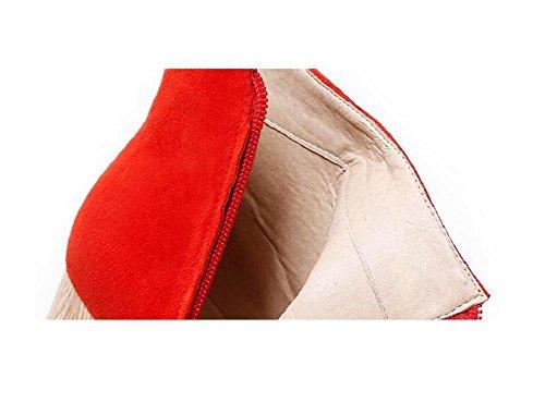 Tacchi pelle Frizzled RED alti Stivaletti Scrubs di Openwork donne red Scarpe 35 Bootie 39 di legno con piuma Martin xISwdAqqp