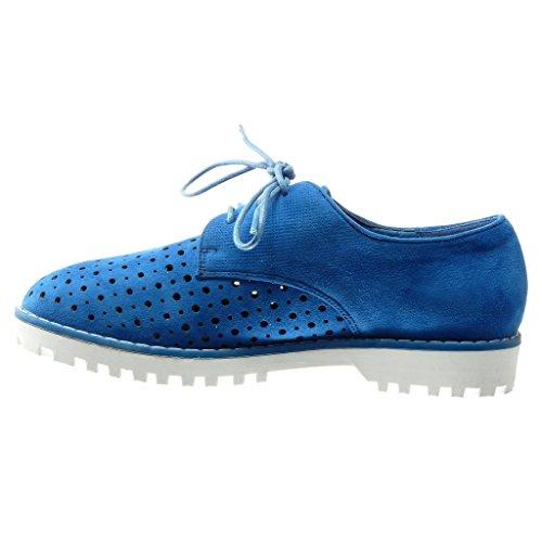 Angkorly - damen Schuhe Derby-Schuh - Perforiert - Geflochten Blockabsatz 2.5 CM - Blau