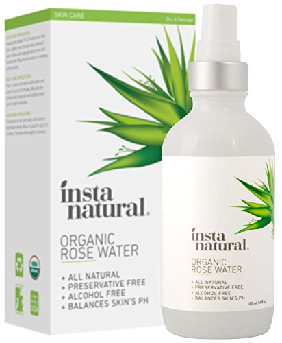 InstaNatural Rose Water Facial Toner - Organic, Natural Astringent Face Mist - Eau Fraiche - No Alcohol - Calming Treatment & Primer to Clear, Tighten, & Hydrate Pores & Breakout Prone Skin - 4 OZ