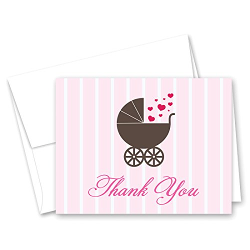 50 Cnt Love Buggy Carriage Pink Hearts Baby Thank You -