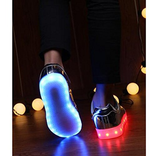 [Present:small towel]JUNGLEST® Women Men Couple LED Light Glow Sneakers USB C Silver pzF61