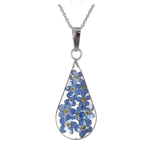 Silver Multi-Colored Pressed Flower Teardrop Pendant Necklace, 18