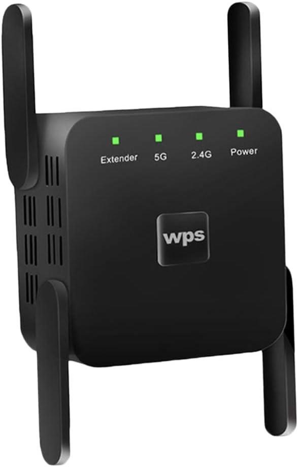 prasku 1200Mbps 2.4G 5G Repetidor Inal/ámbrico WiFi 4 Antenas Amplificador de Se/ñal Enchufe de La UE