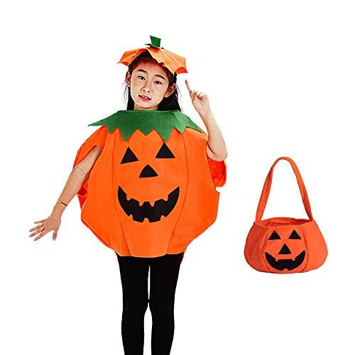 Children Kids Halloween Party Cosplay Pumkin Costume Orange Dress Set with A Hat Bag Fancy Halloween -