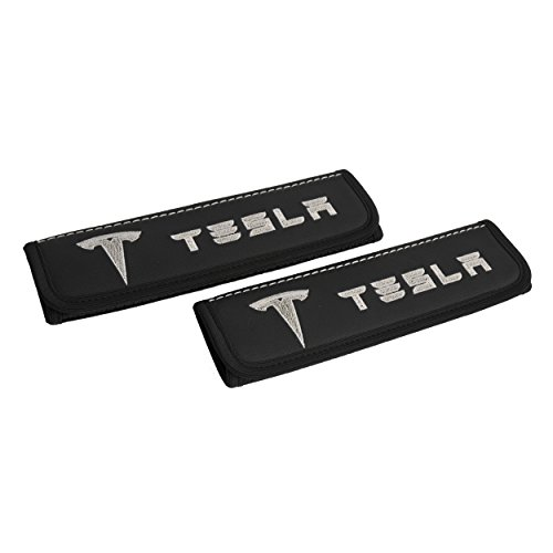 Tesla model car seat belt covers pads shoulder for adults Black seatbelt cover pad with embroidered emblem 2 pcs Tesla accessories Car Model 3 / Model X / Model S from Car Interior