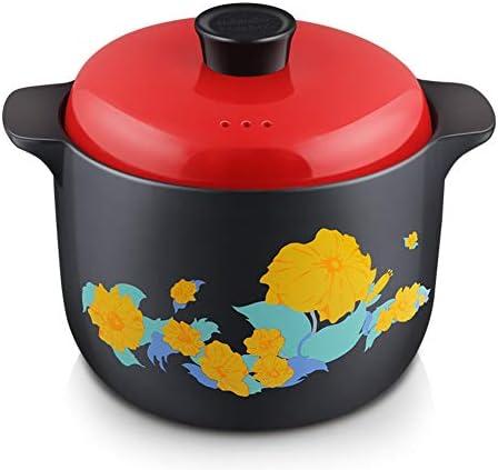 セラミックキャセロール,高温 土鍋 アンチと現代クロックスープポット-やけど 赤マット 釉薬カバー オープン炎ガスストーブに適しています -3.5l