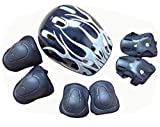 TUPWEL 1 Set of 7 PCS 3-11 Years Old Child Adjustable Helmet Knee Elbow Wrist Guards Protective Gear Pads Set For Skateboard Skating Bicycle BMX Bike Roller Skate Cycling Outdoor Sports Kids Boy