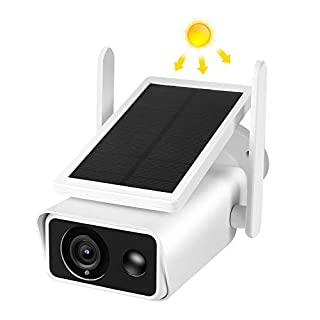 Solar Powered Outdoor Security Camera, Wireless IP Camera with Accurate Motion Detection, Wide Angle Range, Quick Alert and Night Vision