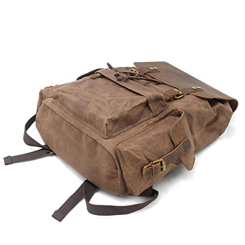 Honeystore Vintage Canvas Leather Laptop Backpack Bookbag Travel Hiking Rucksack Coffee