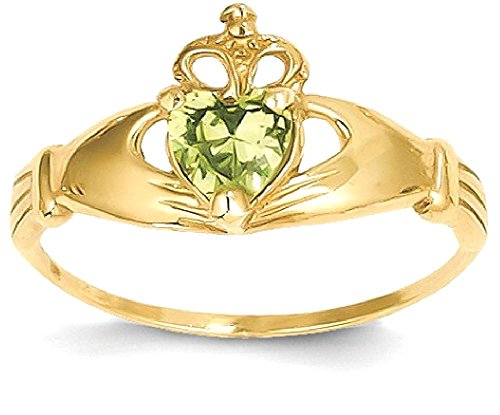 ICE CARATS 14k Yellow Gold Cubic Zirconia Cz August Birthstone Irish Claddagh Celtic Knot Heart Band Ring Size 7.00 Style Fine Jewelry Gift Set For Women Heart