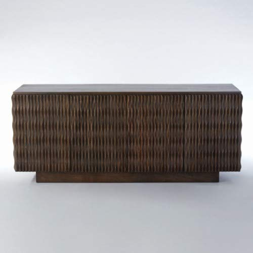 Global Views Elegant Carved Wood Ribbed Buffet Cabinet | Media Console Textured Midcentury ()
