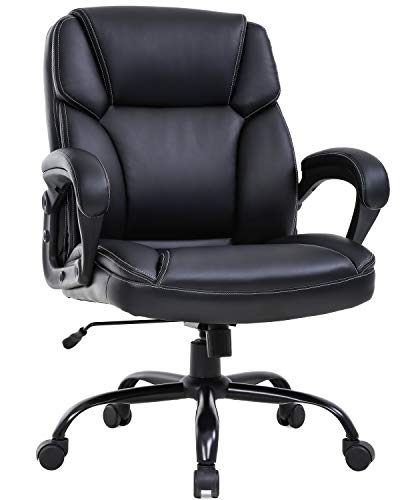 Big and Tall Office Chair 400lbs Wide Seat Ergonomic Desk Chair PU Leather Computer Chair with Lumbar Support Arms Mid Back Executive Task Chair for Heavy People, Black
