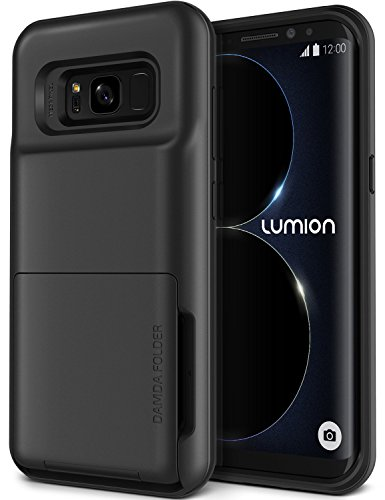 Galaxy S8 Plus Case, [Heavy Duty Drop Protection] Hybrid Card Slot Holder Wallet Cover [Shock Absorption Cover] for Samsung Galaxy S8 Plus by Lumion (D.Folder - Dark Silver)