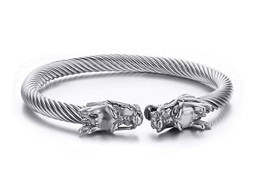 Men's Double Dragon Head Bracelet Adjustable Silver Stainless Steel Cuff Bangle