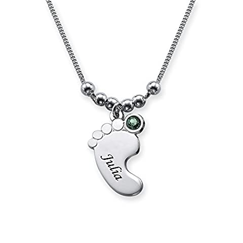 Baby Feet Necklace in Sterling Silver with Swarovski Birthstone & Engraved Personalized Mom Jewelry - Swarovski Engraved Necklace