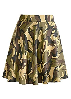 Romacci Women's Basic Versatile Flared A-Line High Waist Casual Mini Skater Skirt (Muticolors for Option)