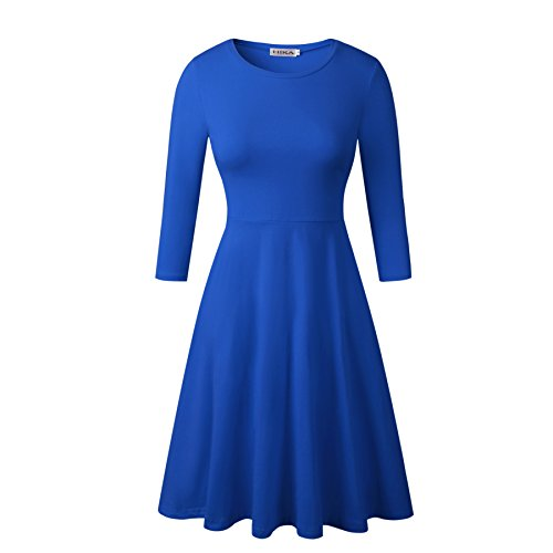 HIKA Women's Casual 3/4 Sleeve Round Neck A Line Flared Dress (X-Large, - Dress Soft