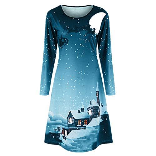 Clearance Halloween Dress, Forthery Women Pumpkin Skull Ghost Skater Swing Dress Vintage A-line Dress (S, Blue 2) -