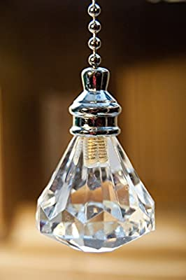 Set of 2 Crystal Clear Diamond Ceiling Fan Part Pull Chains