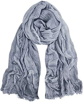 GERINLY Fashion Men Scarves Soft Warm Crinkle Scarf Black
