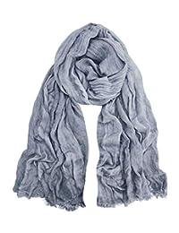 GERINLY Fashion Men Scarves Soft Warm Crinkle Scarf (Grey)