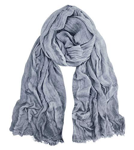 (GERINLY Fashion Winter Men Scarves Soft Warm Crinkle Scarf (Grey))