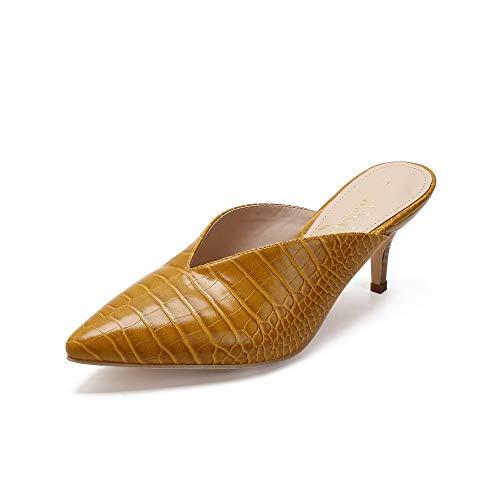 Mackin J G224-1 Women Faux Suede Pointy Heel Kitty Mule (10, Yellow Snake)