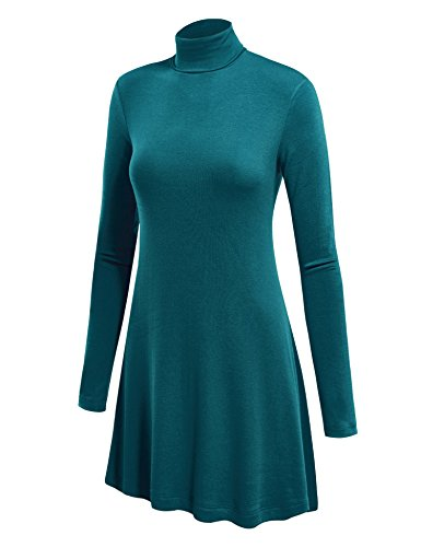 Made By Johnny WT992 Womens Long Sleeve Turtleneck Sweater Tunic with Various Hem S Teal ()