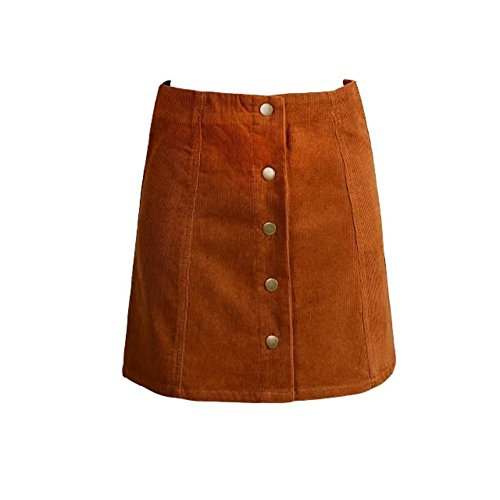 Fedi Apparel Women's Retro Corduroy High Waist A Line Button Slim Mini Skirt