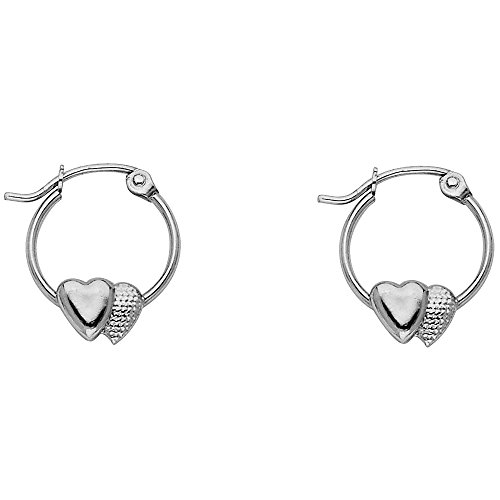 14k White Gold Fancy Double Heart Hoop Earrings (12 x (Fancy Double Heart)