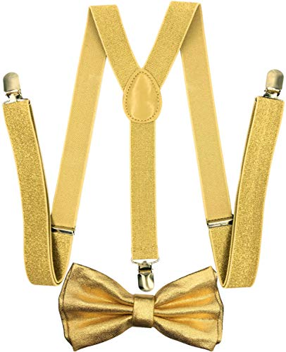 CD Gold Suspender with Matching Metalic, Champagne, Sequined Bowtie Set (Metalic Gold) ()