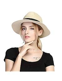 Taylormia Men's Panama Hat Sun Hat Summer UV Protection Foldable Straw Hat UPF 50+