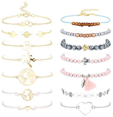 White Gold Assorted Link Chain - Jstyle 14Pcs Assorted Layered Bracelet Set for Women Girls Charms Beaded Bracelet Multiple Stackable Wrap Jewelry Adjustable