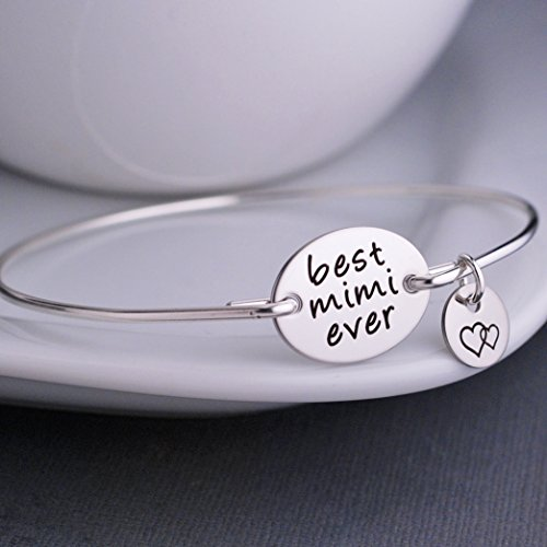 Best Mimi Ever Bangle Bracelet Sterling Silver Mimi Gift Handmade Jewelry