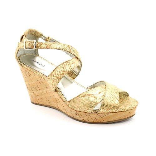 Alfani Jersey Women Synthetic Wedge Sandal, Gold, Size 8.0