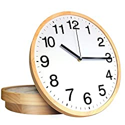 TOHOOYO 12 Inch Wood Wall Clock Modern Non Ticking Silent Quartz Battery Operated Round Wooden Clocks Easy to Read Kitchen Clock for Home/Office/School