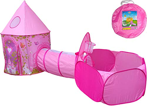 Playz 3pc Girls Princess Fairy Tale Castle Play Tent, Crawl Tunnel & Ball Pit w/ Pink Prairie Design - Foldable for Indoor & Outdoor Use w/ Zipper Storage -