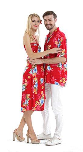 56c12b6e3c5b Couple Matching Hawaiian Luau Cruise Party Outfit Shirt Dress in Hibiscus  Red