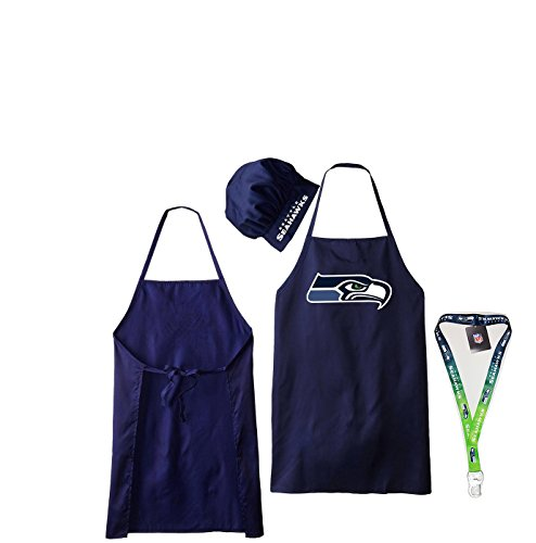 Seattle Seahawks Apron and Chef's Hat and 1 Ombre -
