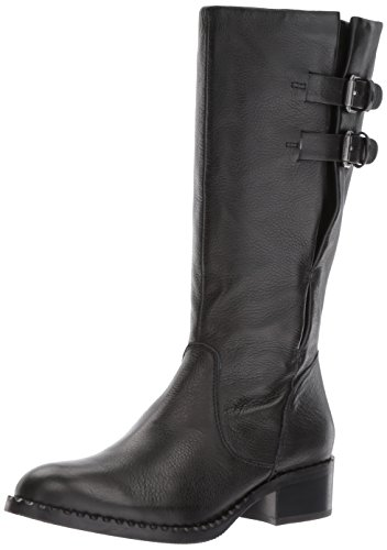 Gentle Souls Women's Brian Mid-Calf Buckle Detail Angled Topline Leather Harness Boot Black KJWWs