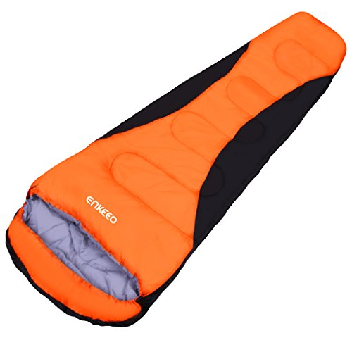 Enkeeo Mummy Camping Sleeping Bag 91x34 Inch 20...