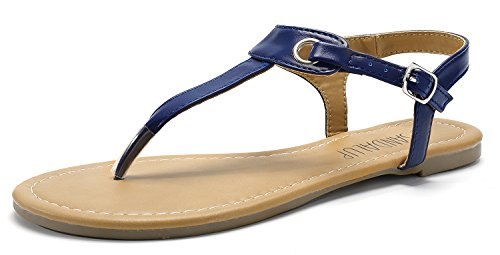 SANDALUP Women's Claire Thong Flat Sandals with Buckle Navy Blue 07 -
