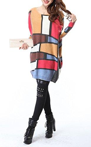 ELLAZHU Damas holgado jersey de punto de Colorblock Un tamaño SZ14 azul Red