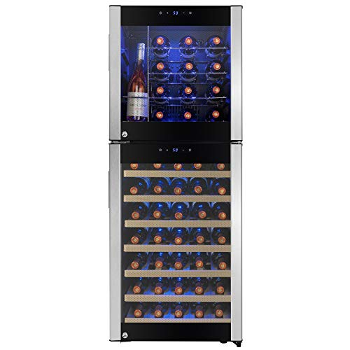 "AKDY 50"" 58-Bottle Touch Panel Dual Zone Chrome Wire Wood Shelves Freestanding Compressor Key Lock Black Silver Wine Cooler"