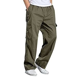 YangguTown-YGT-Mens-Full-Elastic-Waist-Cargo-Pants-Lightweight-Cotton-Workwear-front