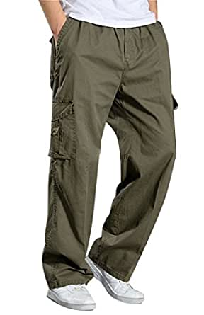 Amazon.com: YGT Men's Full Elastic Waist Cargo Pants ...